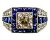 Diamond and Sapphire Art Deco engagement ring. Photo Peter Suchy Jewellers