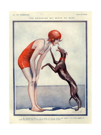 Lady in 1920s Swimwear with Greyhound