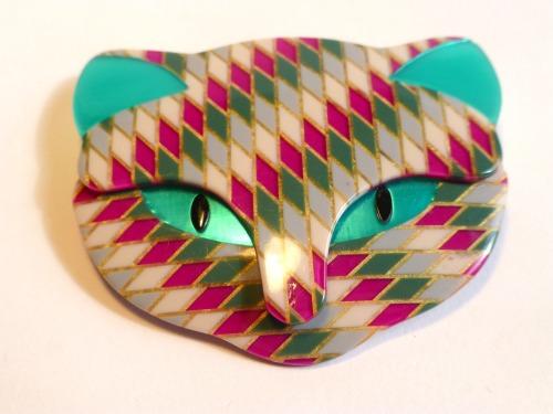 Lea Stein Bacchus Cat Head Brooch Turquoise Pink Diamond Pattern