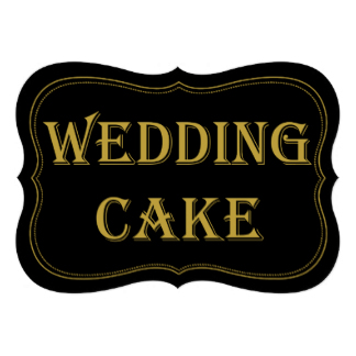 Art Deco Wedding Cake Sign in Brown and Gold