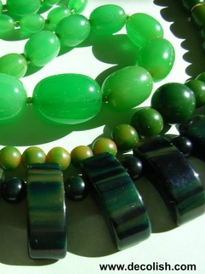 Green Bakelite Beads and Geometric Necklace