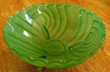 Harlequin Bowl, Green Depression Glass, Art Deco Glass