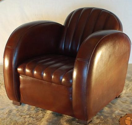 art deco armchair brown leather