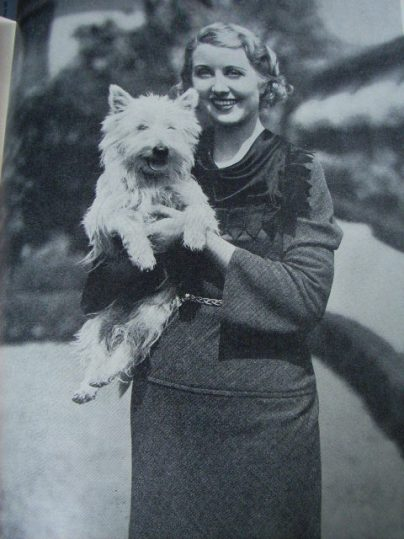 1930s Fashion - tailored day dress, lady with scottie dog