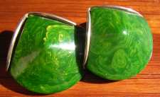 Marbled Green Bakelite Art Deco Earrings
