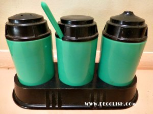 Green and Bakelite Cruet Set
