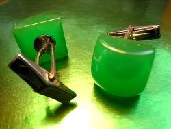 Green bakelite cufflinks