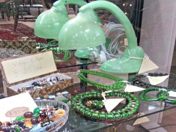 Green Bakelite Lamp with Bakelite Jewelry