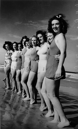 Girls in swimwear on the beach 1939