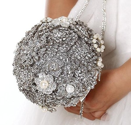 Bridal Bouquet made of Vintage Style Rhinestone Brooches