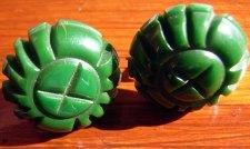 Carved Green Bakelite Screw Back Earrings