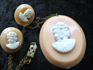 Pale Pink Celluloid Cameo Necklace and Earrings