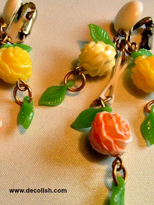 Celluloid Flower and Leaf Earrings