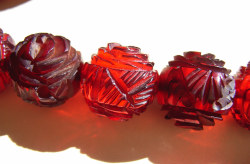 Cherry Amber Bakelite Rose Carved Beads