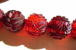 Cherry Amber Bakelite Rose Carved Beads