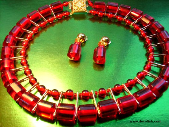 Translucent Red Bakelite Egyptian Style Collar