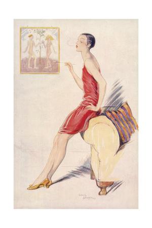 Flapper Smoking 1927 by Lewis Baumer