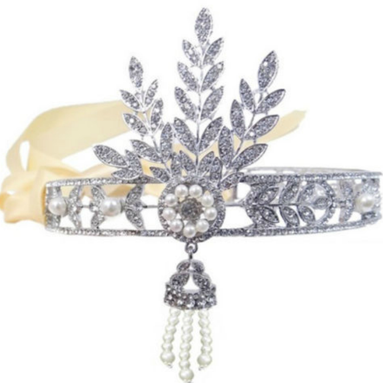 1920s Gatsby Headpiece with Rhinestones and Pearls