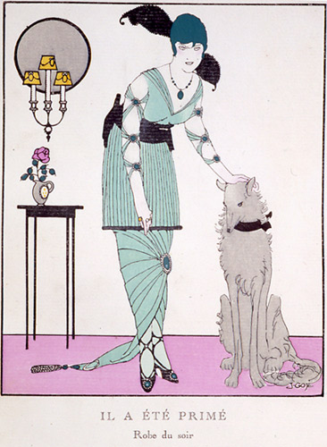 Art Deco Lady with Dog Print Gazette du Bon Ton 1914