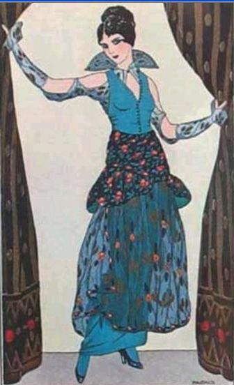 George Barbier Pochoir Print Blue Dress
