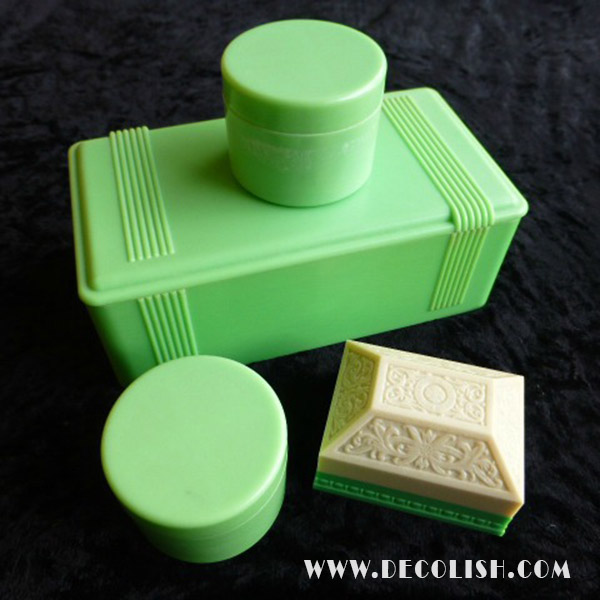 Cream and Green Bakelite Jewelry Boxes