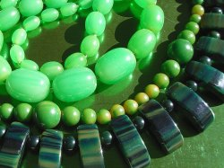 Selection of Green Necklaces probably Catalin