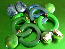 Blue Moon and Green Hoop and Clip on Earrings