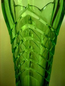 Green Depression Glass Vase - Art Deco Design