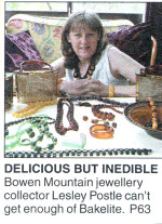 Newspaper clipping featuring Lesley Postle, Bakelite Collector