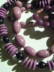 Lilac, Purple and Black Bakelite Beads