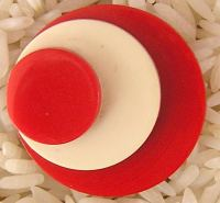 Art Deco Casein Button Red
