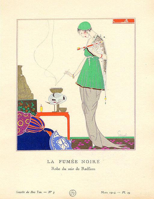 Pochoir Print of a Redfern Evening Dress in Gazette du BonTon