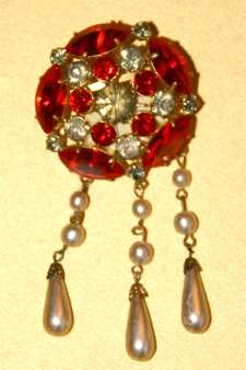 Art Deco Glass Brooch with Faux Pearl Drops