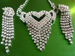 Art Deco Jewelry, Diamante Necklace, Art Deco Earrings