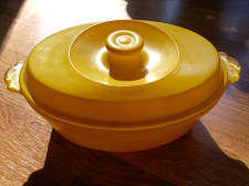 Early Art Deco Style Yellow Pyrex Casserole Dish