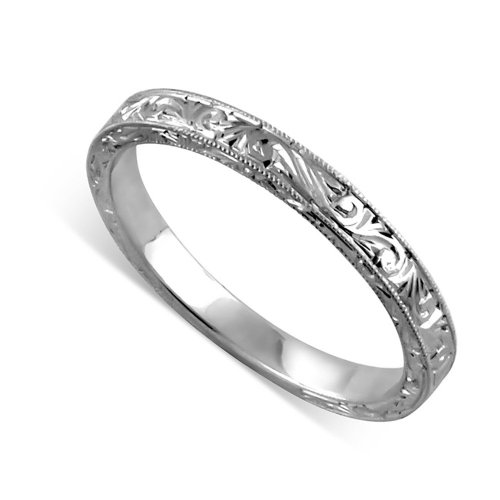 Art Deco White Gold Wedding Band