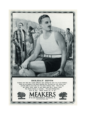 Man in vintage bathing costume 1927