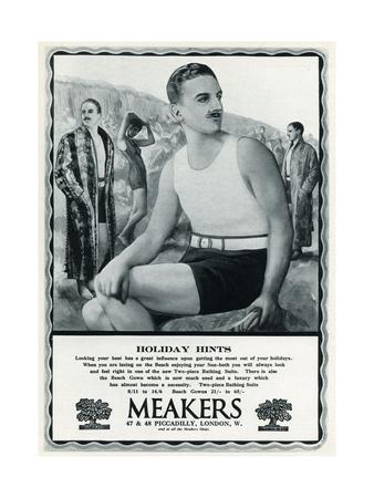Man in vintage bathing costume 1927