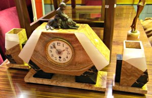 Art Deco Clock with Garniture and Boy Sitting on a Dog
