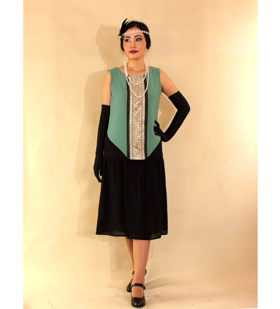 Art Deco style dress green and black