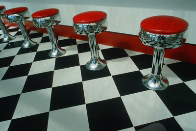 Art Deco Chrome and Red Stools on Black and White Check Floor