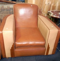 Art Deco leather armchair with two tone colours