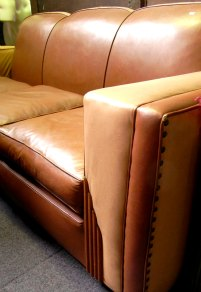 art deco sofa, leather