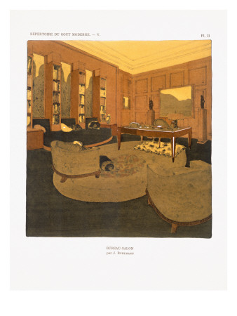 Bureau Salon by Emile Jacques Ruhlmann 1929 Print