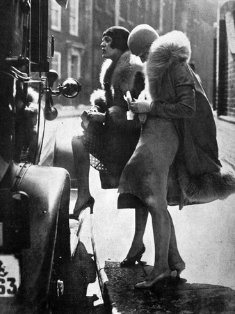 Fashionable Flappers Getting into a Car