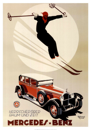 1920s Mercedes with Skier - Print by Meyer