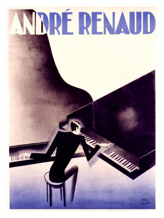 Andre Renaud Poster - Man Playing Two Pianos