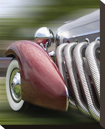 Close up of Red Duesenberg Automobile