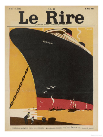 Front cover of Le Rire featuring SS Normandie
