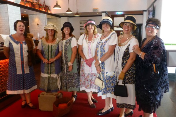 Ladies in 1920s style drop waisted dresses at the Masonic Hotel, Napier